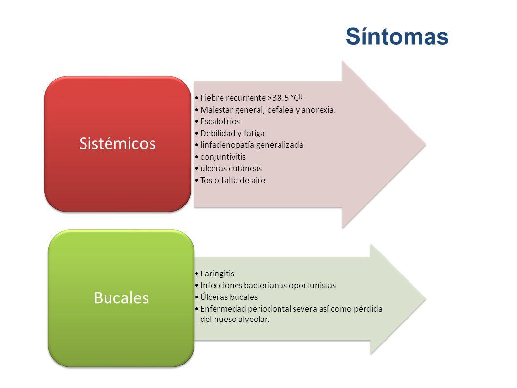 Síntomas Sistémicos Bucales Fiebre recurrente >38.5 °C[]